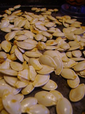 Roasting Pumpkin Seeds on Tray